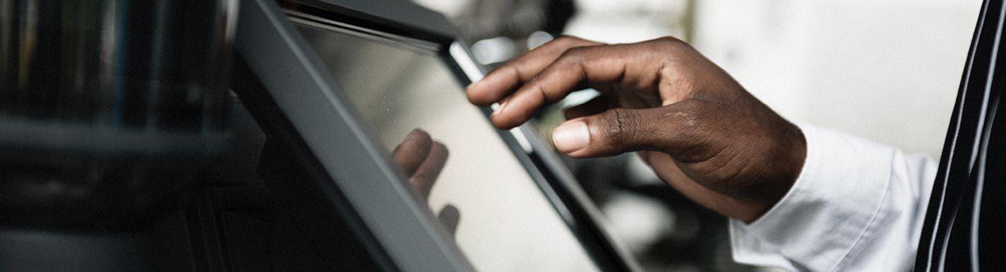Tablette tactile profesionnelle en exploitation